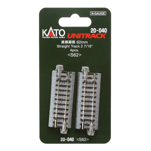 "Kato 20-040 N Scale 62mm (2 7/16"") Straight Track [4 Pcs"