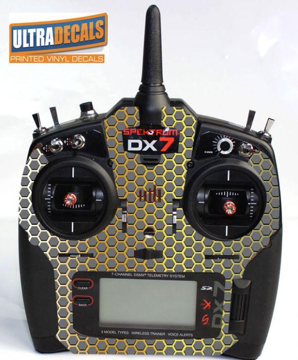 Spektrum DX6 DX7 DX8 Gen 2 Transmitter Radio Skin Wrap Decal Honeycomb  Controller