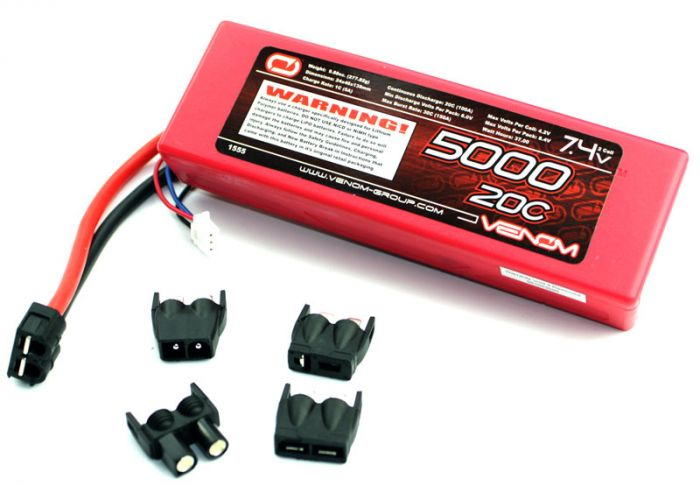 venom 2s 7 4v 5000mah 20c lipo battery 5000 mah 2 cell for traxxas