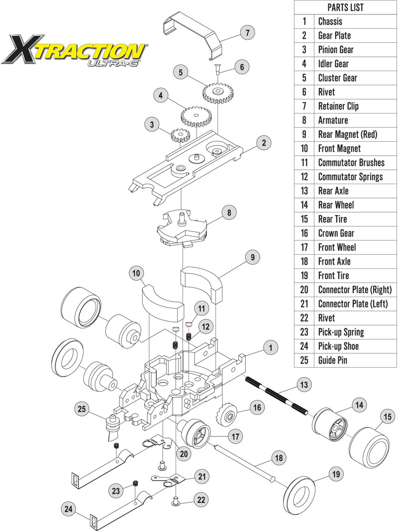 Auto World Xtraction Chassis Parts Rear Wheels Ho Slot Car Pscxt 014 Wiring Diagram