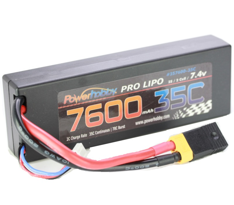 w// XT60 Connector 2 NHX Muscle Pack 2S 7.4V 7600mAh 35C Hard Case Lipo Battery
