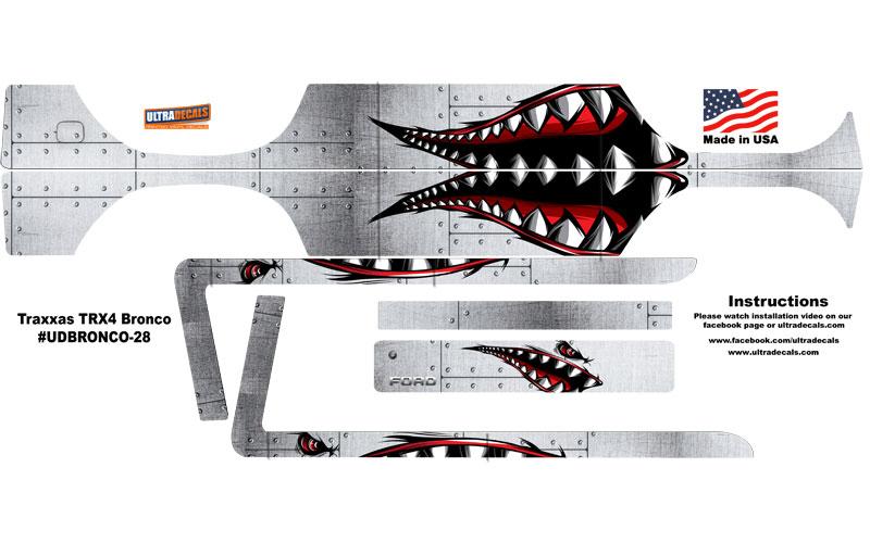 Spitfire Shark Teeth Traxxas Trx4 Bronco Body Skin Wrap